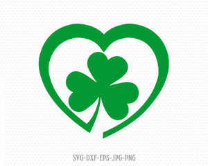 Saint Patricks Day Svg, Lucky SVG, Shamrocks SVG, Saint Patrick's love heart Day Svg, CriCut Files svg jpg png dxf Silhouette cameo