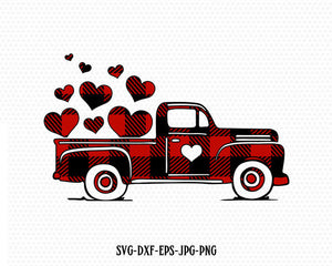 Valentines buffalo plaid Truck Svg, Valentines vintage Truck ,Valentines SVG Cutting File Svg, CriCut Files svg jpg png dxf Silhouette cameo