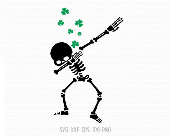 Dabbing skeleton St Patrick's Day , Shamrock SVG, St Patrick's Day Svg, CriCut Files svg jpg png dxf Silhouette