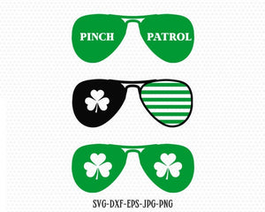 sunglasses for st patricks day svg, Pinch patrol svg, St Patricks' Day Svg, Lucky SVG, Shamrock SVG, CriCut Files svg jpg png dxf Silhouette