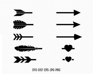 Arrows kit svg, Arrow cut file, arrow heart svg, Valentines Day SVG, Love arrow SVG, CriCut Files frame svg jpg png dxf Silhouette cameo