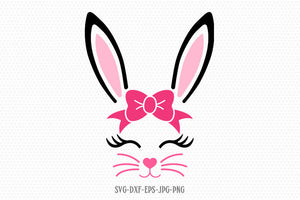 Bunny Svg, Easter Svg,Boy Girl Cute Easter Bunny Svg, Easter Cut File, Bunny face Svg, cut Files Cricut svg jpg png dxf Silhouette cameo
