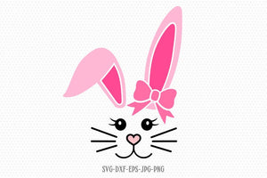Bunny Svg, Easter Svg, Girl Cute Easter Bunny Svg, Easter Cut File, Bunny face Svg, cut Files Cricut svg jpg png dxf Silhouette cameo