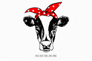 Cow svg, Heifer Svg, Cow Face SVG, Cow with Bandana Svg, Cricut, Silhouette Cut File, svg dxf eps