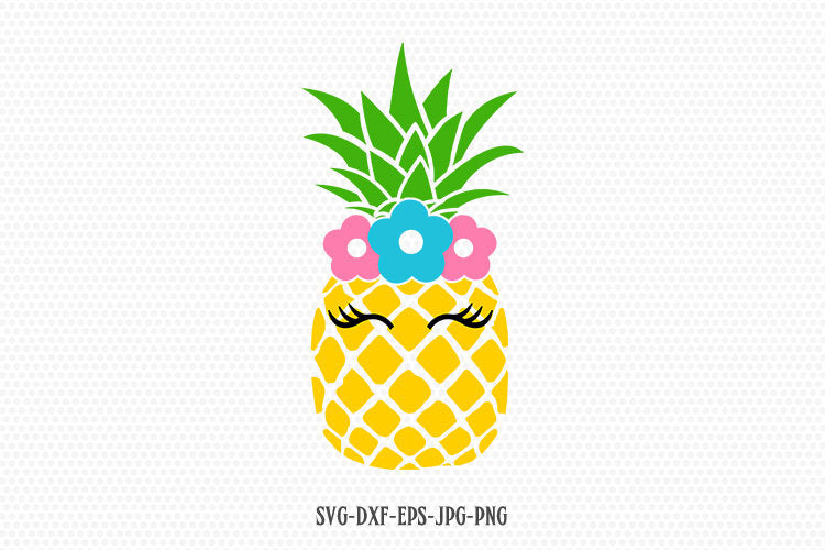 Pineapple svg, cute Pineapple eyelashes svg, Summer Svg, Vacation svg, summer Pineapple svg, for CriCut Silhouette svg jpg png dxf