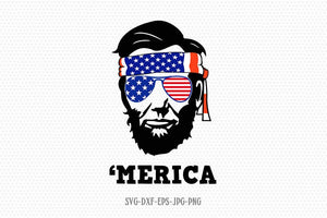 Abraham Lincoln Merica svg, Fourth of July SVG, 4th of July Svg, Patriotic SVG, Lincoln bandana Svg, Cricut Silhouette Cut File svg dxf eps