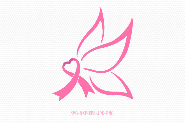 Butterfly Cancer Ribbon, Cancer  svg, Breast Cancer Survivor ribbon svg, breast cancer  svg, for Cricut Silhouette svg png dxf