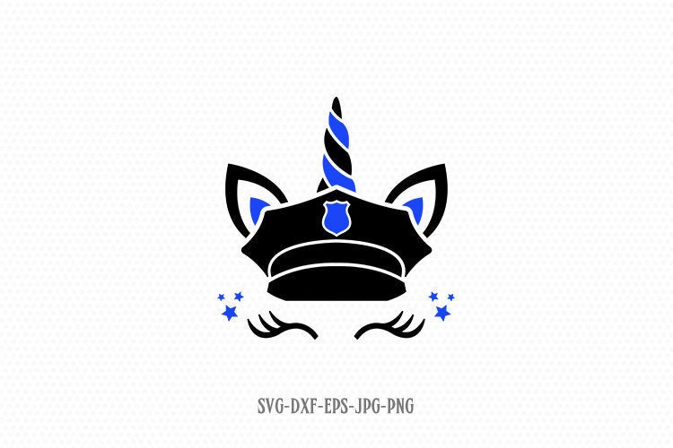 Police Unicorn svg, Thin Blue Line Svg, unicorn svg, unicorn birthday svg, Magical unicorn svg, Cricut, Silhouette Cut File, SVG DXF EPS