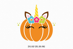 Pumpkin unicorn svg, unicorn svg, unicorn birthday svg, halloween unicorn svg, unicorn eyelashes, Cricut, Silhouette Cut File, SVG DXF EPS