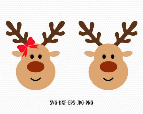 Reindeer SVG, Christmas, Xmas svg, Boy and Girl Reindeer, Christmas SVG Cutting File Svg, CriCut Files svg jpg png dxf Silhouette cameo