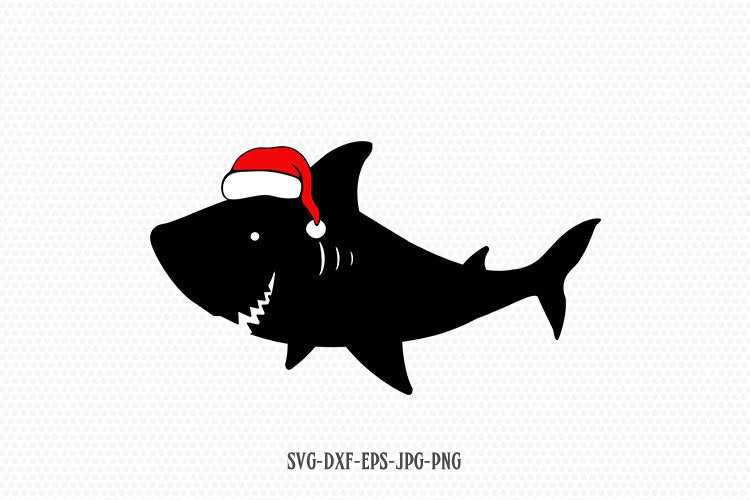 christmas shark svg, santa shark svg, christmas svg, shark birthday svg, SVG Cutting File CriCut Files svg jpg png dxf Silhouette