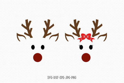 cute reindeer svg, Reindeer SVG, Boy and Girl Reindeer, Christmas SVG Cutting File Svg, CriCut Files svg jpg png dxf Silhouette