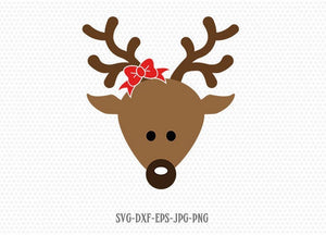Cute Reindeer SVG, Reindeer Face, Christmas svg, Girl Reindeer ,Christmas Cutting Files, CriCut Files svg jpg png dxf Silhouette