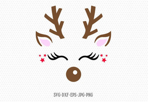 Reindeer SVG, Reindeer Face, Christmas svg, Girl Reindeer ,Christmas Cutting Files, CriCut Files svg jpg png dxf Silhouette