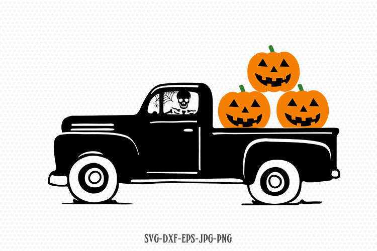 Scary Pumpkin Truck svg, Fall Truck svg, Vintage Truck svg, skeleton svg, Hallowee Truck svg, CriCut svg jpg png dxf Silhouette cameo