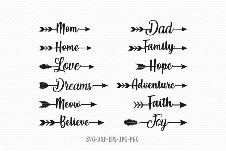 Arrow Words Svg, Arrows word svg, Arrow svg, Love arrow svg, Heart arrows SVG, svg for CriCut silhouette, svg jpg png dxf
