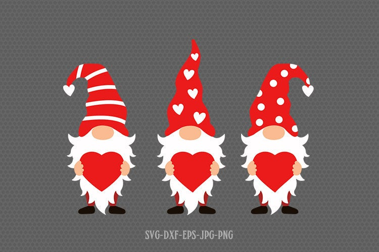 Valentine gnomes with heart svg, gnomes svg, valentines day svg, Love svg, valentine svg, svg for CriCut silhouette, svg jpg png dxf