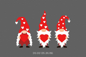 Valentine gnomes with heart svg, gnomes svg, valentines day gnomes svg, Love svg, valentine svg, svg for CriCut silhouette, svg jpg png dxf