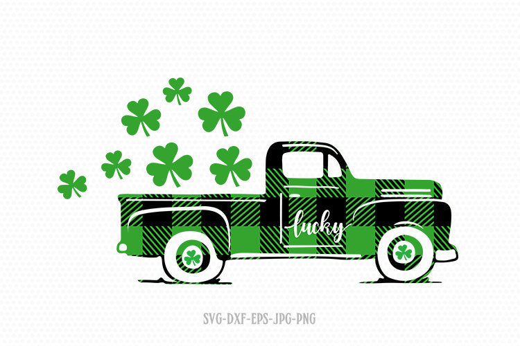 Saint patricks day vintage old Truck car Svg, Shamrock SVG, Saint Patrick's DaySvg,Clover SVG, CriCut Files svg jpg png dxf Silhouette cameo