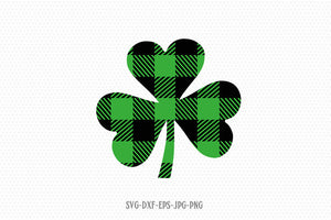 buffalo plaid Shamrock SVG, Saint Patricks Day Svg, Clover SVG, CriCut Files svg jpg png dxf Silhouette cameo