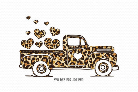 Valentines vintage Truck svg, cheetah SVG, valentine day svg, Valentines Day SVG, Love SVG, CriCut Files svg jpg png dxf Silhouette