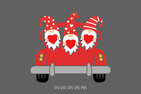 Valentine gnomes with heart on old truck svg, gnomes svg, valentines day svg, Love svg,  svg for CriCut silhouette, svg jpg png dxf