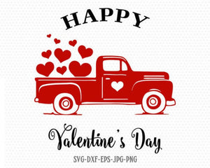 Valentines red Truck Svg, Happy Valentines Truck svg, Happy Valentines SVG Cutting File Svg, CriCut Files svg jpg png dxf Silhouette cameo