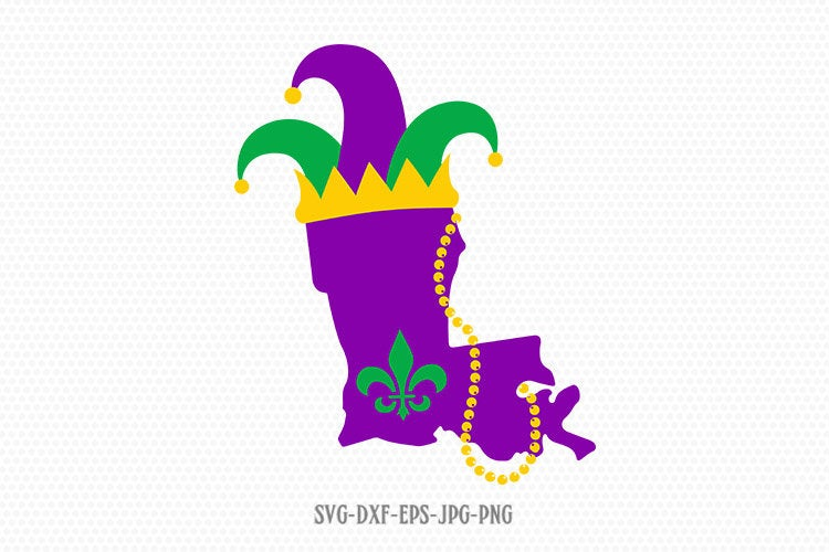 Louisiana Mardi Gras map svg, mardi gras svg, happy mardi gras, beads svg, Louisiana Mardi Gras svg, Files svg jpg png dxf Silhouette