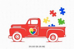 Autism Truck svg, Autism svg, Autism clipart, Autism Puzzle svg, autism Awareness svg, svg Files for Cricut Silhouette svg jpg png dxf