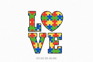 Autism Love svg, Autism svg, Autism clipart, Autism Puzzle love svg, autism Awareness svg, svg Files for Cricut Silhouette svg jpg png dxf