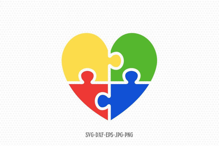 Autism Heart Puzzle SVG, Autism svg, Autism clipart, autism Awareness svg, svg Files for Cricut Silhouette svg jpg png dxf