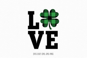 st patricks day love buffalo plaid shamrock svg, Shamrock SVG, Saint Patricks Day Svg, CriCut Files svg jpg png dxf Silhouette cameo