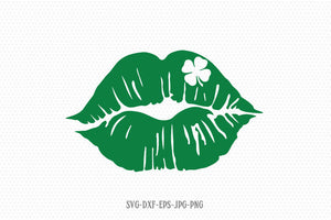 Lips with clover Svg for St patricks day, Lips SVG, Shamrock SVG, Saint Patricks Day Svg, CriCut Files svg jpg png dxf Silhouette cameo