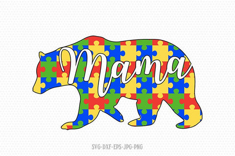 Bear svg, Autism svg, Autism clipart, Autism Puzzle svg, autism Awareness svg, svg Files for Cricut Silhouette svg jpg png dxf