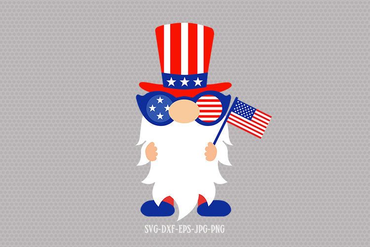 4th of July Gnome svg, Patriotic Gnome svg, gnomes svg, 4th july svg, independence day svg, svg for CriCut silhouette, svg jpg png dxf