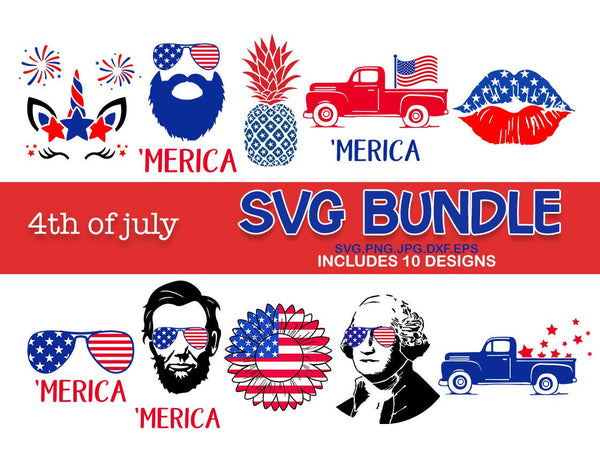 4th of july bundle svg, 4th of July lincoln merica kiss lips unicorn truck washington Svg, Patriotic SVG, svg for Cricut Silhouette dxf eps