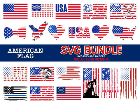American flag bundle svg, USA flag svg, Fourth of July SVG, 4th of July Svg, Patriotic SVG, America Svg, svg for Cricut Silhouette dxf