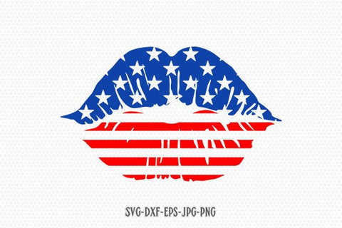 USA lips Kiss svg, Fourth of July SVG, 4th of July Svg, Patriotic SVG, America Svg, Cricut, Silhouette Cut File, svg dxf eps
