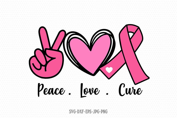 Peace love Cure svg, Peace Love SVG, Hand Peace Sign SVG, svg for Cricut Silhouette png jpg dxf