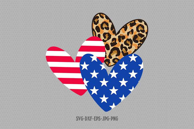 Patriotic hearts svg, cheetah leopard heart svg, american flag svg, 4th of July Svg, Patriotic SVG, Cricut Silhouette Cut Files svg dxf
