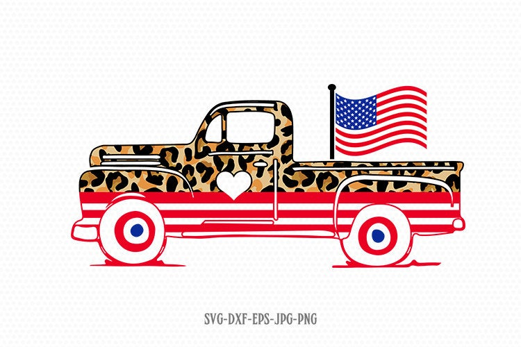Patriotic vintage old truck svg, american flag svg, cheetah leopard 4th of July truck  Svg, Patriotic SVG, svg for Cricut Silhouette dxf png
