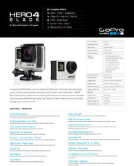 Go Pro Hero 4 black data sheet tech info