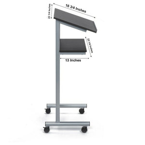 Wheeled Tabletop Lectern-Silver/Black