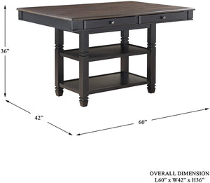"Homelegance 60"" x 42"" Two-Tone Counter Height Dining Table, Black/Natural"