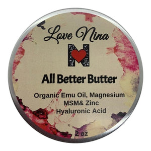 Magnesium and Emu Oil Cream *All Better Butter* 2oz with Hyaluronic Acid - MSM - Zinc - MENTHOL - Organic Shea Butter! Soothes Discomfort & Pain!