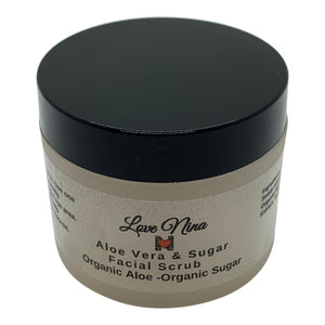 Facial Aloe & Sugar Scrub 2oz - Organic Aloe Vera Gel - Organic Sugar - Organic Oils - Organic Bakuchi - Exfoliate - Promote Radiant Skin - Helps with Acne!