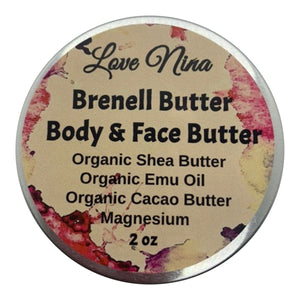 Organic Shea Butter & Magnesium Body Butter *Brenell Body Butter and Facial Butter* 2oz - Hyaluronic Acid - Manuka Honey - Organic Emu Oil - Helps with Dry Skin, and Eczema!