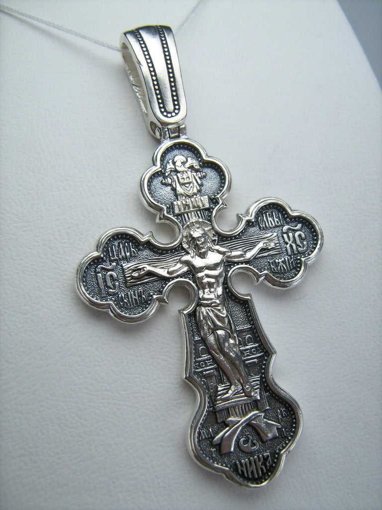 Orthodox Silver 925 Cross Crucifixion Pendant Jesus Christ Protection of the Blessed Virgin Mary George Victory St. Orthodox Necklace.