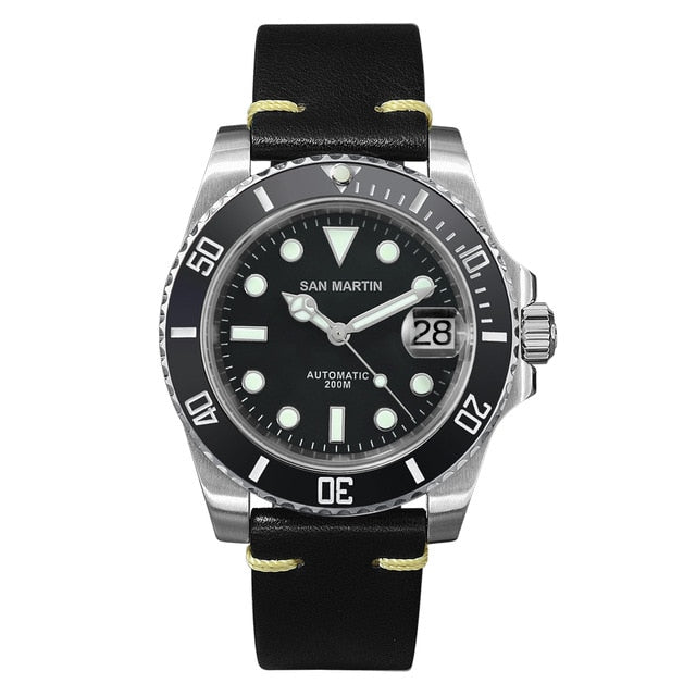 Leather Strap Waterproof Diver Automatic Watch