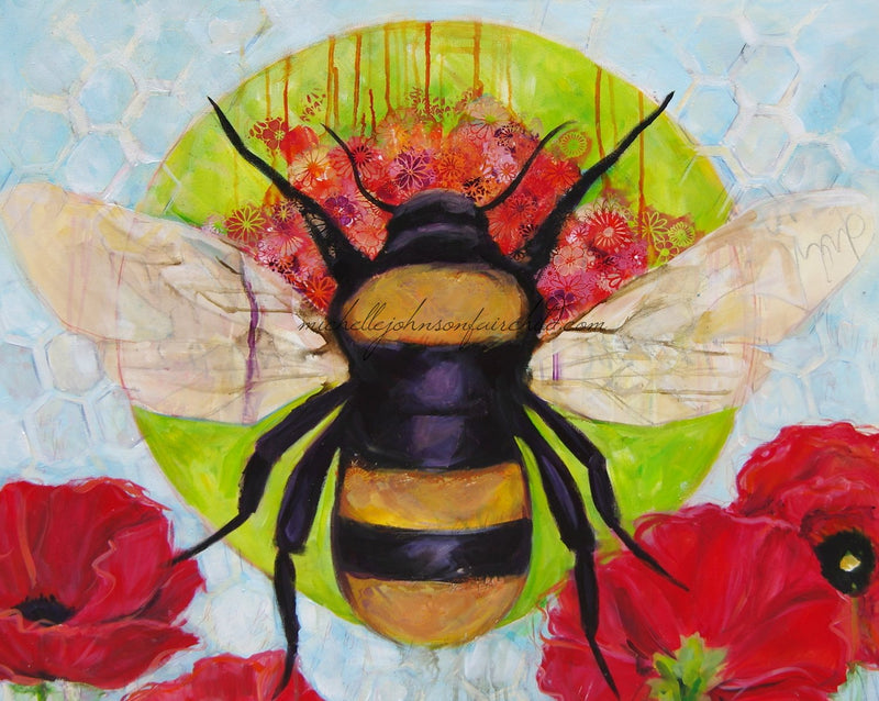 "24"" x 24"" ""Just Bee"" Embellished Canvas Print"